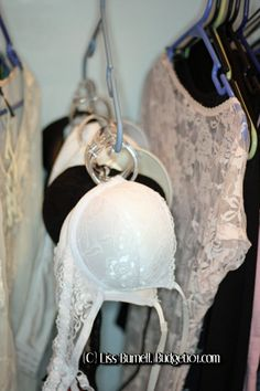 great idea to 'hang bra's in closet with a shower curtain hook :-)