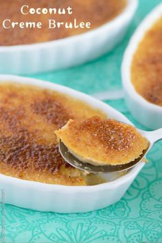 This coconut creme brulee is so rich and decadent; it's a must-make. With a velvety smooth custard and crunchy sugar topping, it is great as a party dessert.