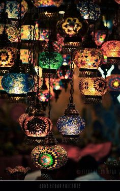 Exotic multi-colored hanging lanterns - #weddinglanterns #coloredlighting #exoticweddinglights