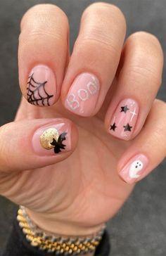 Cute Halloween Nails, Halloween Nail Designs, Halloween Nail Art, Cute Nail Designs, Pretty Halloween, Halloween Makeup, Holloween Nails, Halloween Acrylic Nails, Gel Nails