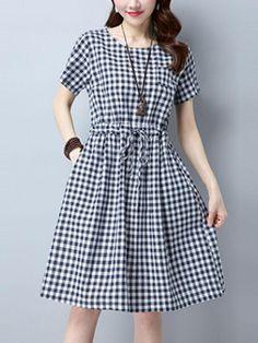 Fashionmia - Fashionmia Plaid Drawstring Round Neck Pocket Skater Dress - AdoreWe.com