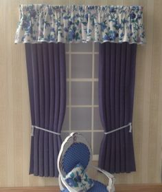 12th scale shabby chic Curtains for dollhouse by minichris on Etsy, £8.50