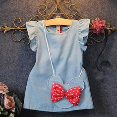 Kids Baby Girl Petal Sleeve Dress Minnie Mouse Bag Ruffles Denim Bow Decoration Casual Princess Dresses 1-5Y