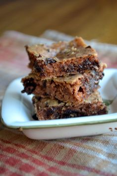 Flourless Peanut Butter Chocolate Chip Coolie Bars      1 Can of Northern White Beans     1 Cup of Peanut Butter OR your favorite nut butter     1/3 cup of Maple Syrup OR another sweetening agent     1 egg     2 tablespoons of coconut oil     1 teaspoon of baking soda     3/4 cup of chocolate chips     1/3 cup of milk ( milk of your choosing)