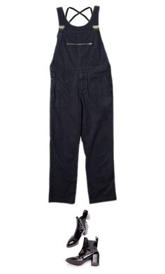 """""""roll up the cuffs."""" by sharplilteeth ❤ liked on Polyvore featuring T By Alexander Wang, AlexanderWang, minimal, overalls, bralet and margarethowell"""