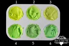 """Mixing Tertiary Colors The Easy Way """"Primary"""" Lemon Yellow mixed with greens (1) Electric Green (2) Mint Green (3) Avocado (4) Leaf Green (5) Forest Green (6) Teal"""