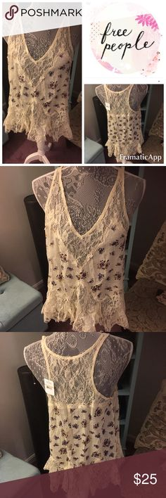 Cream lace free people top Beautiful floral and lace free people. It had pretty lace detail at the bottom, it is a small but would fit a medium. Free People Tops Tank Tops