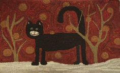 Hooked Rug Black cat in the red forest by ThePreeningCrow on Etsy