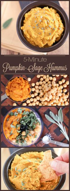 Just 5 ingredients, ready in 5 minutes flat! This delicious Savory Pumpkin Hummus is filled with the rich, comforting flavors of pumpkin and sage. It's an ideal Halloween snack, Thanksgiving appetizer, or holiday hors d'oeuvre. A quick, healthy appetizer recipe that can even be made ahead! Perfect for parties, and for snacking – a healthy hummus recipe that's great anytime! If you're looking for pumpkin recipes, this is a must-try! | www.TwoHealthyKitchens.com