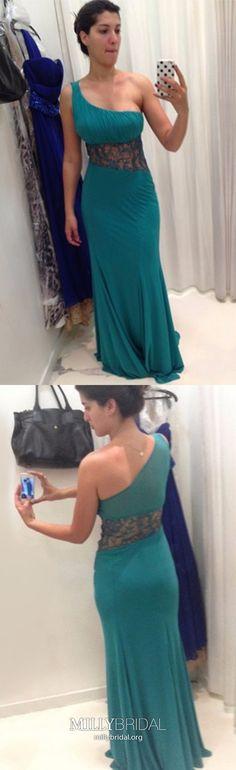 Green Prom Dresses Long, One Shoulder Prom Dresses Sheath, Chiffon Prom Dresses Lace, Modest Prom Dresses For Teens Cute Dresses For Party, Formal Dresses For Teens, One Shoulder Prom Dress, Military Ball Dresses, Stunning Dresses, Chiffon, Lace, Green, High School