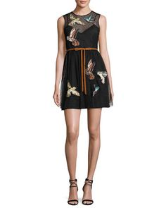 Sleeveless+Point+d\'Esprit+Dress+w/+Embroidered+Hummingbirds,+Nero+by+RED+Valentino+at+Neiman+Marcus.