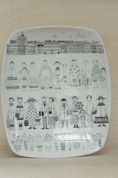 Arabia Finland EMILIA Tray Plate China Painting, Ceramic Painting, Ceramic Art, Porcelain Ceramics, Ceramic Pottery, Pottery Art, Kitchenware, Tableware, Mid Century Modern Decor