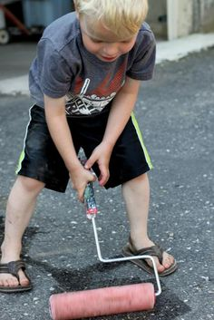 Painting the Driveway Water Activity ~ bring out the real painting tools and let the kids play!