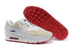 3659 Cheap Mens Nike Air Max 90 Fashion Shoes White Beige Red 45731