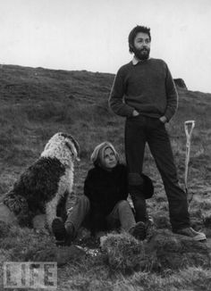 paul and linda mccartney. That looks like a Parti-Colored Standard Poodle to me. so it is not about p mccartney or l mccartney, it's about the poodle