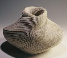 """by Takayuki Sakiyama textured ceramic vessel, """"All of my work is inspired by the sea, especially the natural curve created by the waves. When I was in junior high school I knew I had to find a way to be an artist and live by the sea."""" See more at: http://beautifulpeopleliveart.com/artist-takayuri-sakiyama/"""