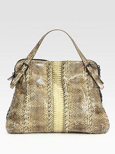 Bottega Veneta - Medium Exotic Cobra & Leather Shoulder Bag