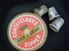 Vintage Thimbles  1950s  Vintage Zipper Container  by LunaJunction