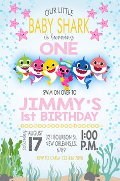 2nd Birthday Party For Girl, 1st Birthday Invitations Girl, Girl Birthday Themes, Birthday Ideas, Shark Party Decorations, First Birthdays, Baby Shark, Candy Land, Amy