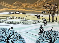 Magpies in the Snow ~ Linocut ~ Rob Barnes