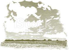 Woodcut Cloud Scene royalty-free stock vector art