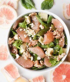 grapefruit and avocado spinach salad