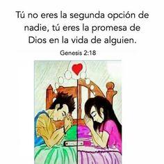 Tu no eres la segunda opción de nadie, tu eres la promesa de Dios en la vida de alguien.  Gn 2.18