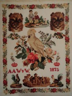 A Beautiful 19th Century DUTCH Sampler Signed AAW v W & Dated 1875 Embroidery Sampler, Vintage Embroidery, Vintage Cross Stitches, Cross Stitch Samplers, Sewing Notions, Antique Prints, Needlepoint, Holland, Picture Frames