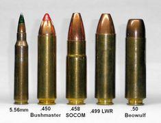 5.56 - .450 Bushmaster - .458 Socom - .499 LWR - .50 Beowulf