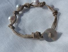 waxed irish linen freshwater pearl knotted by