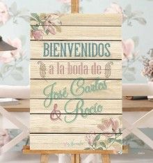 Cartel floral de bienvenidos personalizado