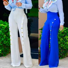 Cheap white palazzo, Buy Quality pantalones palazzo directly from China white palazzo pants Suppliers: Women Side Button Pants High Split Wide Leg Pants Trousers 2017 Casual White Palazzo Pants Summer Cool Street Pantalones Palazzo Older Women Fashion, Womens Fashion, Latest Fashion, Fashion Pants, Fashion Outfits, Sexy Outfits, Fashion Backpack, Fashion Ideas, High Waisted Flares