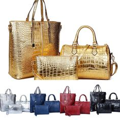3Pcs Crocodile Handbag Sets Crocodile Handbags, Trends, Tote Bag, Accessories, Fashion, Moda, Fashion Styles, Carry Bag, Fashion Illustrations