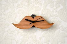 Moustache Modern Wall Clock - Bamboo, via Etsy. Moustache, Wood Crafts, Diy And Crafts, Home Office Accessories, Wood Stamp, Wood Clocks, Clock Decor, Gadgets And Gizmos, Modern Wall