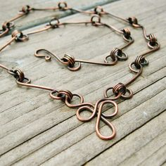 Bear Face - Handcrafted Copper Link Chain Necklace via Etsy