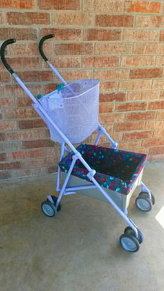 Umbrella stroller made into a granny cart. Helps grandma move laundry and items around the house. Groceries from the car to the house is made easier!