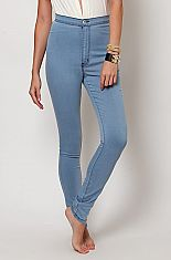 Super high waist fitted skinny jeans light blue from Love MelroseThese high waist hot pants feature smooth stretch jean fabric and two back pockets. These thin and stretchy pants are ideal for any occasion and can be dressed up or down. Wear with a loose crop top or our super low neck leotards! Also comesin black.68% COTTON30% POLYESTER2% SPANDEXMACHINE WASH COLDDO NOT BLEACHDO NOT WRING TUMBLE DRY LOW
