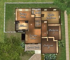 A home for up to 6 earth muffin Sims.or at least for Sims who like neutral/earthtone colors. Sims 4 Houses Layout, Tiny House Layout, House Layout Plans, House Layouts, Sims 4 House Plans, Sims 4 House Building, Home Building Design, Family House Plans, Two Story House Design