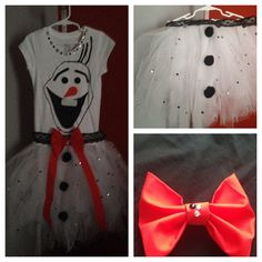 Olaf Disney handmade inspired dress tutu with bow / or Olaf t-shirt with rhinestones tutu skirt and bow