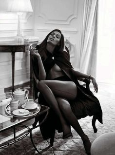 Appropriate tea attire? We'd like to think so. B+W photograph. Victoria's Secret