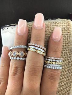Stacking some of our favorite diamond bands at Cornell's Jewelers. Perfect for pairing with engagement rings or simply to add sparkle to your everyday look.