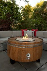 Sonoma County Wine Barrel Fire Pit Butter Churn Style with BTU Burner Outdoor Landscaping, Outdoor Patios, Outdoor Ideas, Outdoor Decor, Wine Barrel Fire Pit, Patio Kitchen, Fire Pit Designs, Fire Pit Backyard, Sonoma County