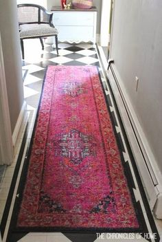 Brighten up your entryway with a colorful runner! This reminds me of a rug my grandma used to have all over her house Decor, Apartment Living, Home Decor Inspiration, House Design, Home Accessories, Interior, Home, House Styles, Interior Design