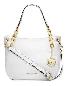 Michael Michael Kors Brooke Leather Medium Shoulder Tote Bag Optic White