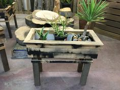 Reclaimed wood succulent/herb boxes Succulent Boxes, Succulents, Herb, Hardwood, Table, Furniture, Home Decor, Grass, Natural Wood