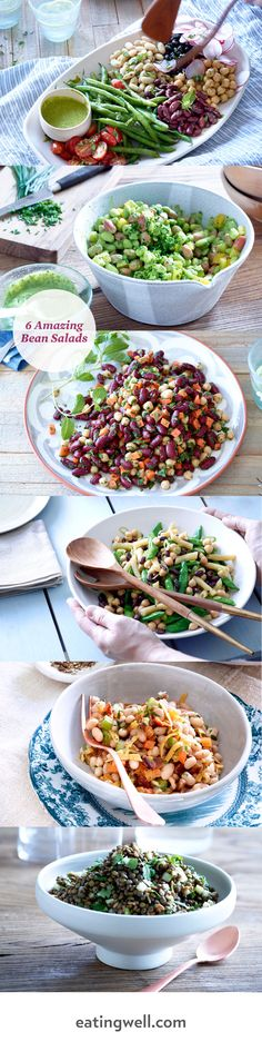 These easy recipes for healthy bean salads go way beyond the classic three-bean salad. Take one of these tasty variations with black beans, chickpeas, green beans, edamame and more to your next party, and you'll be bringing home an empty dish.