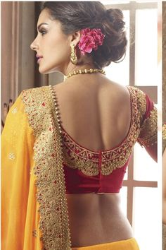 End Customization with Hand Embroidery & beautiful Zardosi Art by Expert & Experienced Artist That reflect in Blouse , Lehenga & Sarees Designer creativity that will sunshine You & your Party. Pattu Saree Blouse Designs, Blouse Designs Silk, Bridal Blouse Designs, Blouse Patterns, Sari Design, South Indian Blouse Designs, Blouse Designs Catalogue, Indian Beauty Saree, Silk Sarees