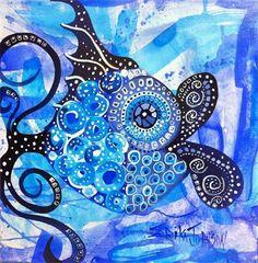 art fish- fish art -Deep Blue Sea Fish www.erikajohnsoncreations.com