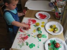Cut apples and use them to make fun paint prints