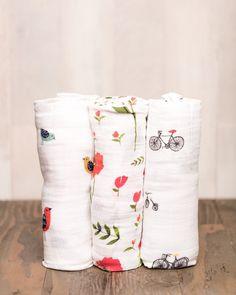 Little Unicorn Cotton Muslin Swaddle Set - Summer Poppy